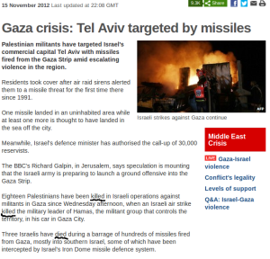 "BBC article: Palestinians ""killed"", Israelis ""died"""