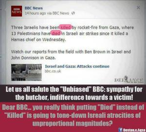 "BBC article with text highlighted, and other text added, pointing out that Israelis are ""killed"", while Palestinians have ""died"""