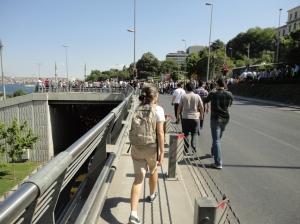Heading towards the retreating police