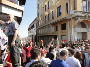 Many people were climbing up Osmanlı Sokaği beside The Marmara Hotel