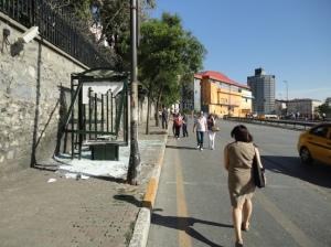Tarlabaşı Caddesi, looking away from Taksim, the British Consulate behind the wall
