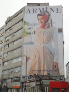 Billboard on Halaskargazi Caddesi, in Osmanbey, facing towards Taksim, in Istanbul