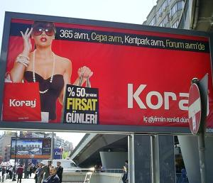 Billboard in Ankara for a lingerie shop.  Photo taken on May Day, 2010