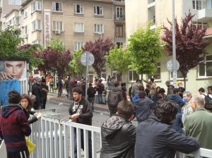 May Day 2014: rocks ready for the TOMA at Şişli Etfal  Hastanesi (hospital)