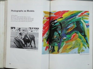Book page with impressionist painting of bull