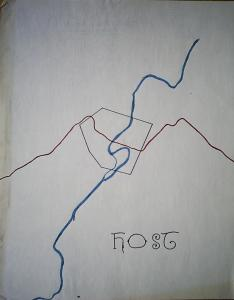 In 1981, I traced this picture from a USGS topographical map.  Featured are the Cacapon River, US Route 50, and the boundary of Capon Bridge, West Virginia, designated as a host for refugees from Washington in the event of the Soviet nuclear strike that President Reagan seemed bent on provoking