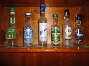 Four ouzo bottles from Lesbos; two rakı bottles from Turkey