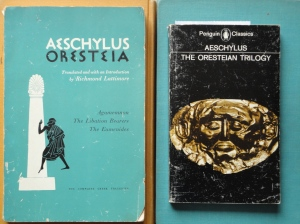 photo of two translations of Aeschylus