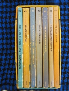 Spines of Chronicles of Narnia in boxed set