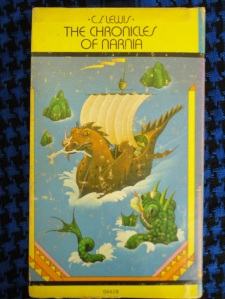 Side of boxed set of The Chronicles of Narnia from 1970s