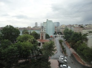 Clock tower of Şişli Etfal hospital, from the fourth floor