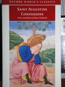 Augustine, Confessions (book cover with the saint weeping)