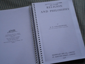 Collingwood, Religion and Philosophy, title page of spiral-bound printout