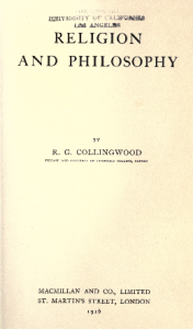 Collingwood, Religion and Philosophy, title page