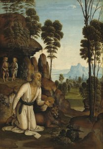Follower of Pietro Perugino, Saint Jerome in the Wilderness, c. 1490/1500, tempera on panel (National Gallery of Art, Washington; Samuel H. Kress Collection)