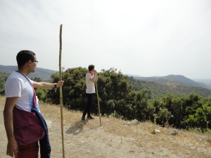 Two hikers with staves regard the landscape