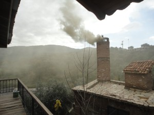 Coal smoke billowing from chimney, Şirince, January, 2018