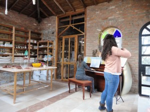 Violinist and pianist practice in ceramics studio, Şirince, January, 2018
