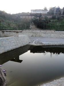 New pond of the Math Village, library beyond, Şirince, January, 2018