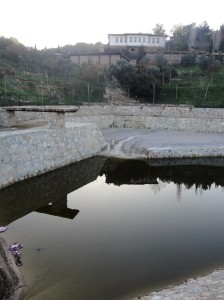 New pond of the Math Village, library beyond, Şirince, January, 2018