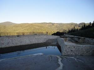 New pool of Math Village, sunlit hillside beyond, Şirince, January, 2018