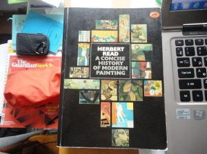 Herbert Read, A Concise History of Modern Painting (cover black with 17 small images of paintings)