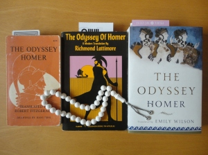 Three books with beads