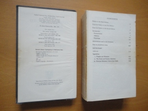 Copyright page and table of contents, side by side, of Concise Oxford Dictionary