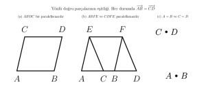 Yönlü doğru parçalarının eşitliğinin tanımının üç durumu