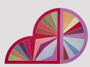 Multicolored overlapping circle and semicircle