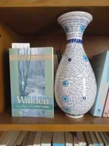 Thoreau, Walden, on shelf with vase